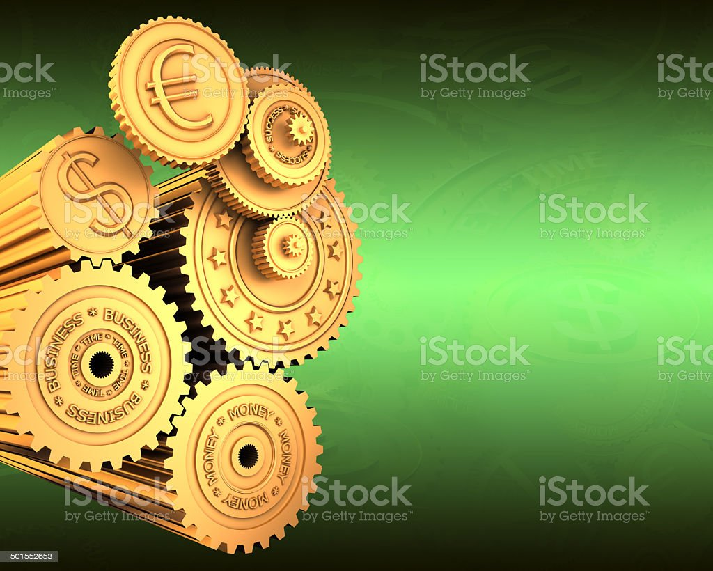 Currency working mechanism stock photo