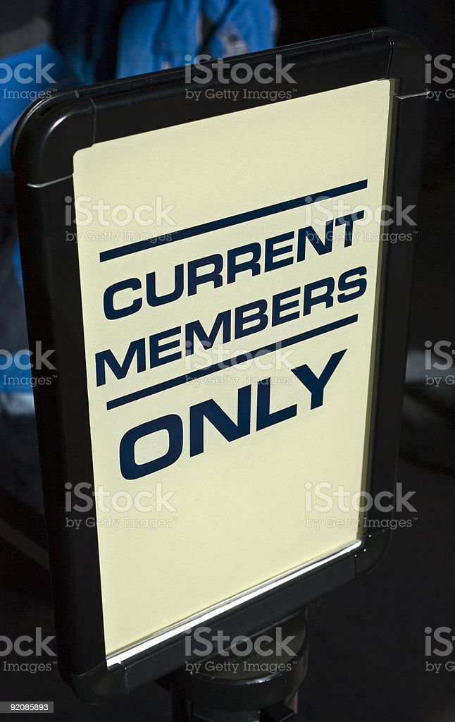 Current Members Only Sign royalty-free stock photo