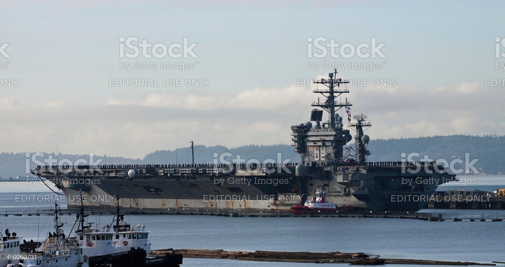 Current News: USS Nimitz Returns To Everett 12-16-13 royalty-free stock photo