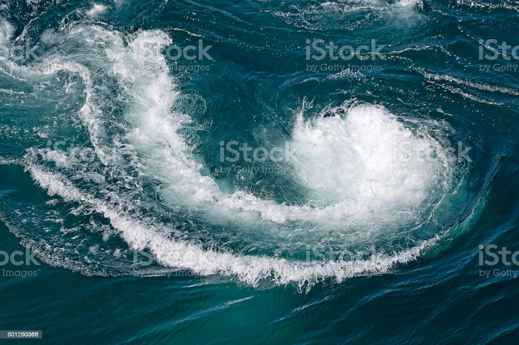 Current Tide at Saltstraumen maelstrom in Norway stock photo
