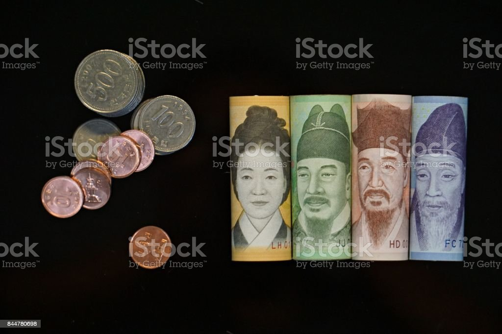 Current Use of South Korean Won Currency in Different value. stock photo