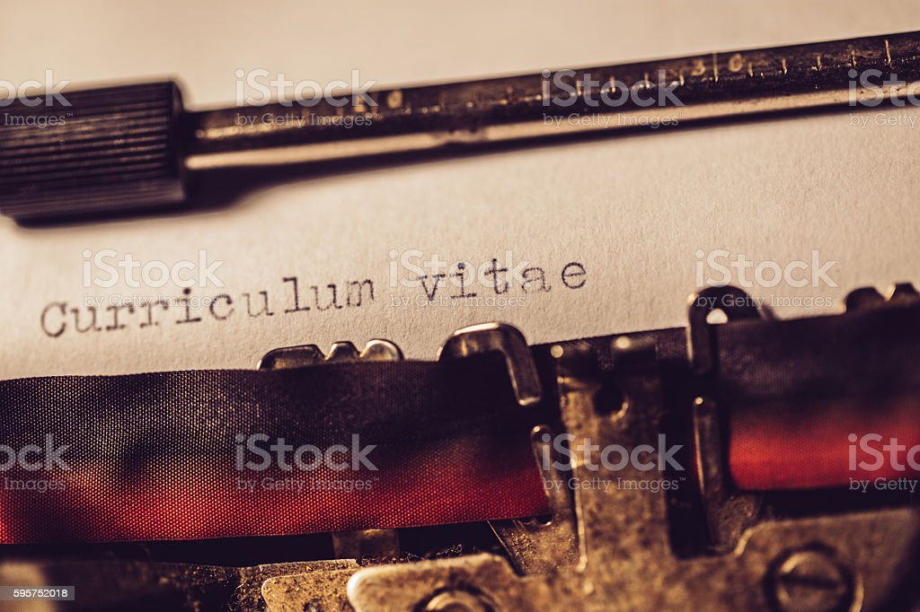 'Curriculum vitae' typed using an old typewriter stock photo