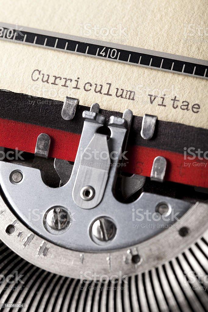Curriculum vitae written on an old typewriter royalty-free stock photo