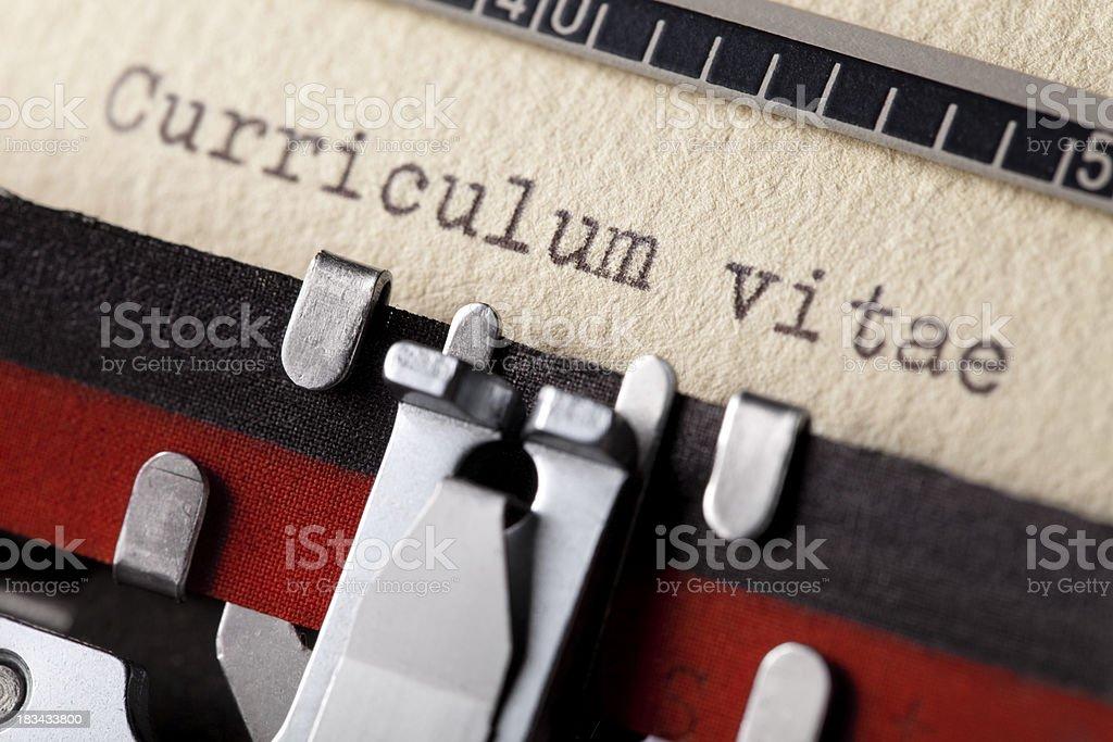 Curriculum vitae written on an old typewriter stock photo