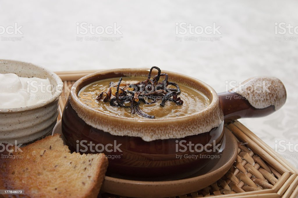 Curried pumpkin soup royalty-free stock photo