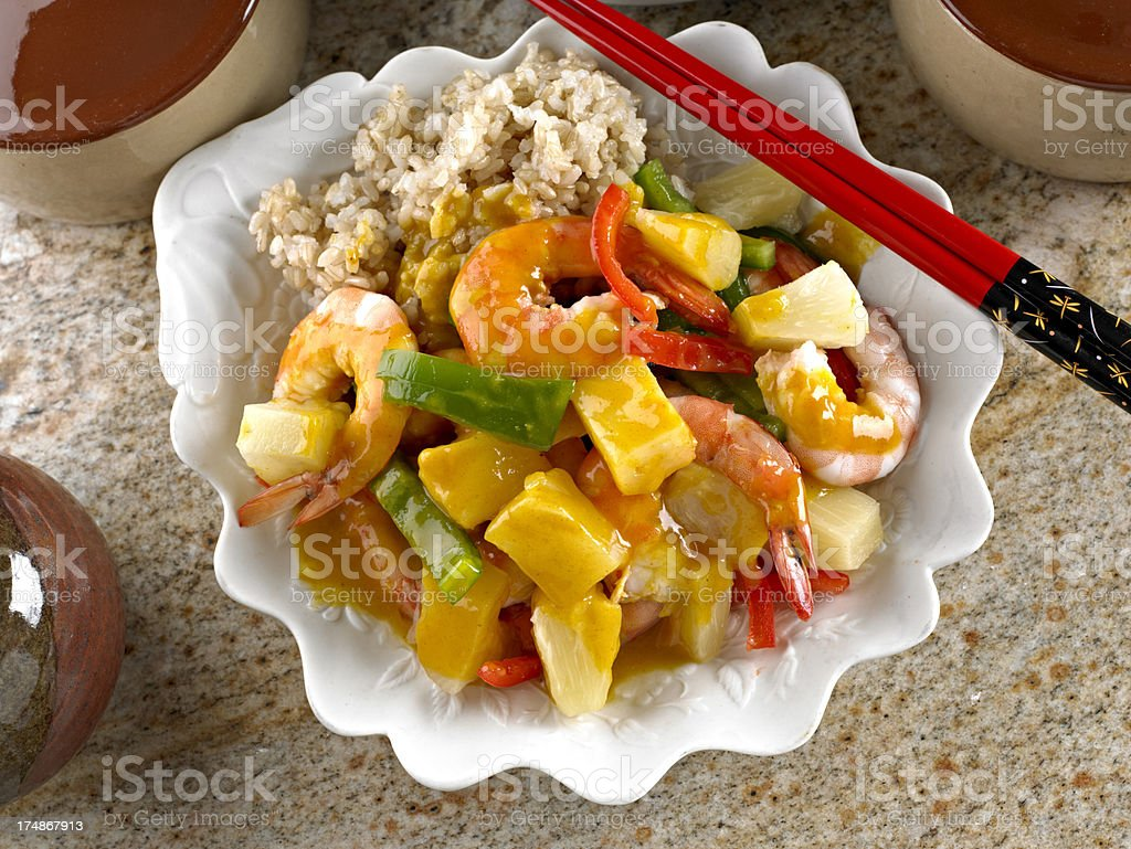 Curried Shrimp with Pineapple stock photo