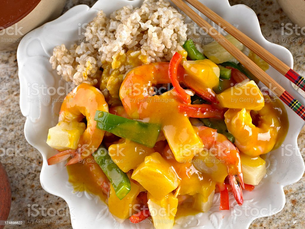 Curried Shrimp with Pineapple royalty-free stock photo