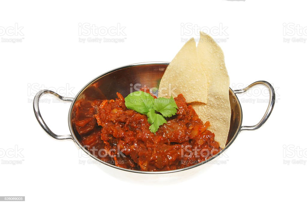 Curry and pappadum stock photo