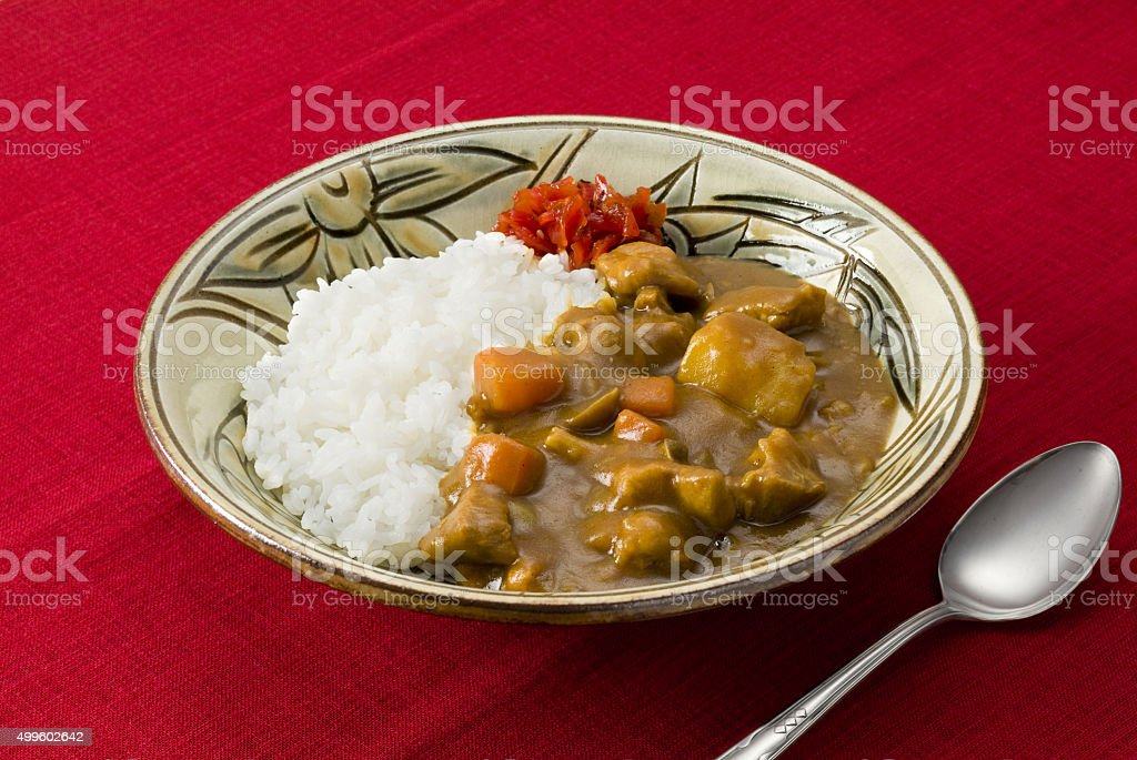 Curry and rice stock photo