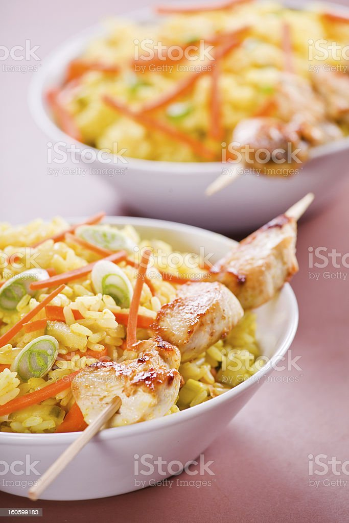 Curry Chicken Skewers royalty-free stock photo