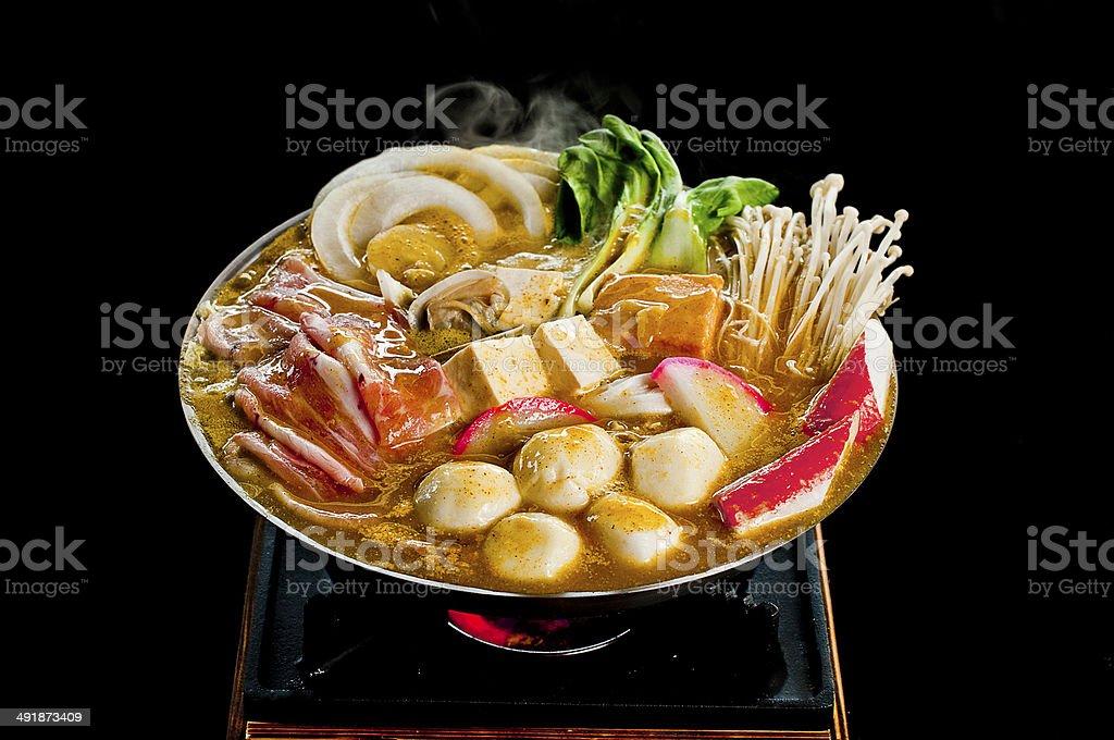 Curry Fish Ball Hot Pot stock photo