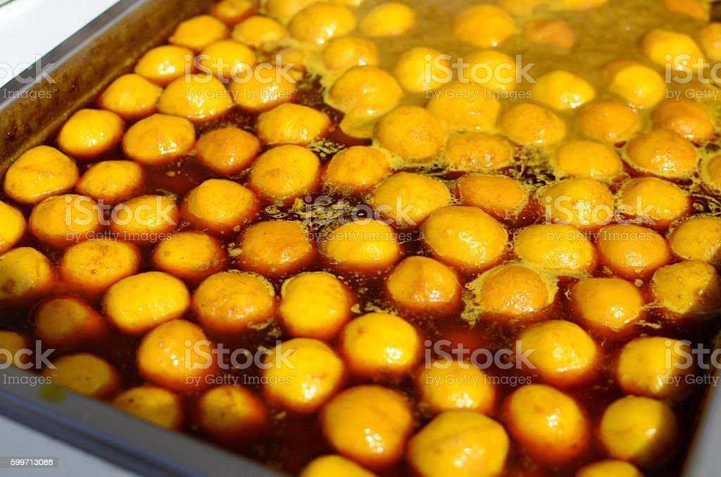 Curry fishballs stock photo