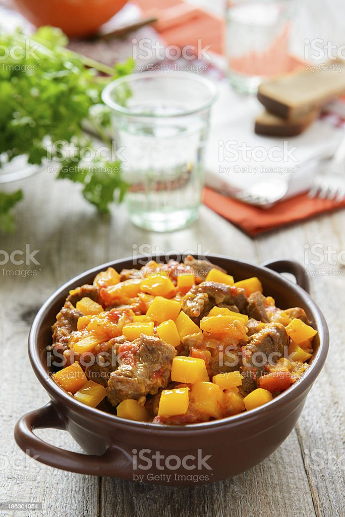 Curry from beef and pumpkin stock photo
