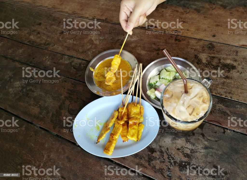 curry pork grill with appetiser thai food stock photo