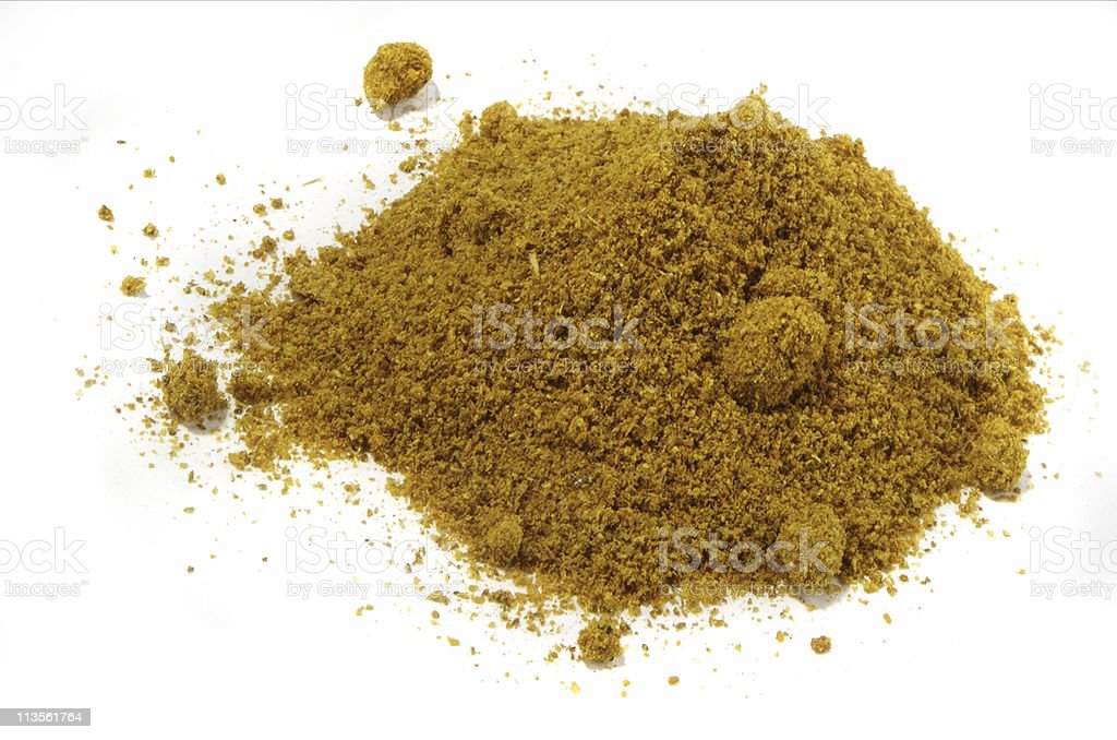 curry powder cut out on white stock photo