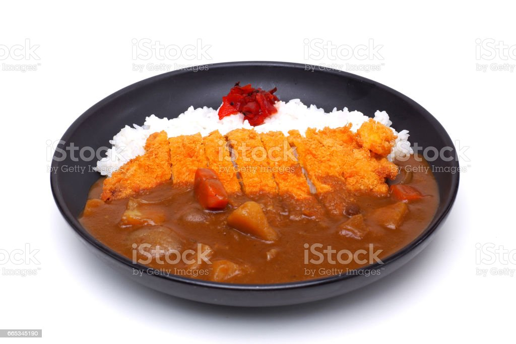 Curry Rice with Deep Fried Pork or Katsu-kare , Japanese style food , isolated on white background (Clipping path) stock photo