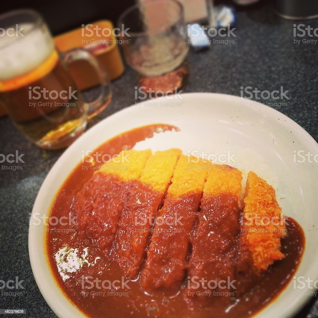 Curry rice with pork cutlet in Japanese style stock photo