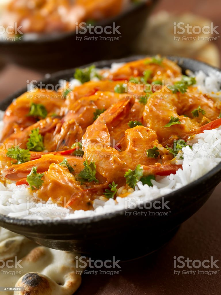 Curry Shrimp Rice Bowl stock photo