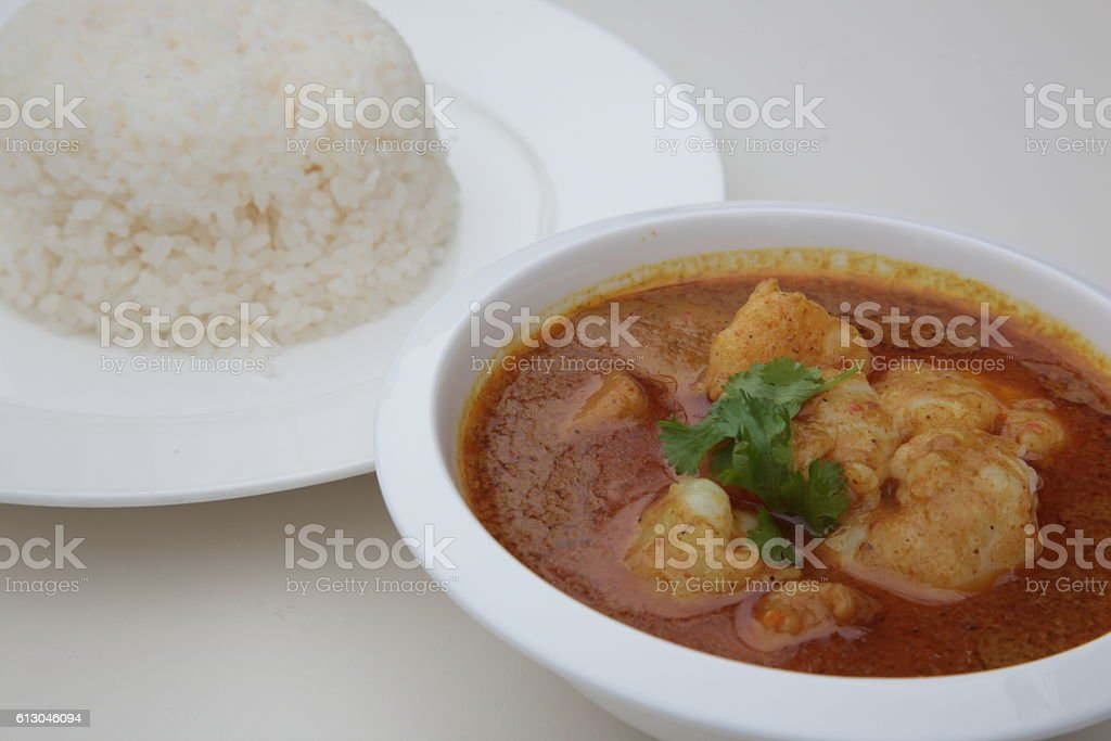Curry Shrimps Balls  with rice stock photo