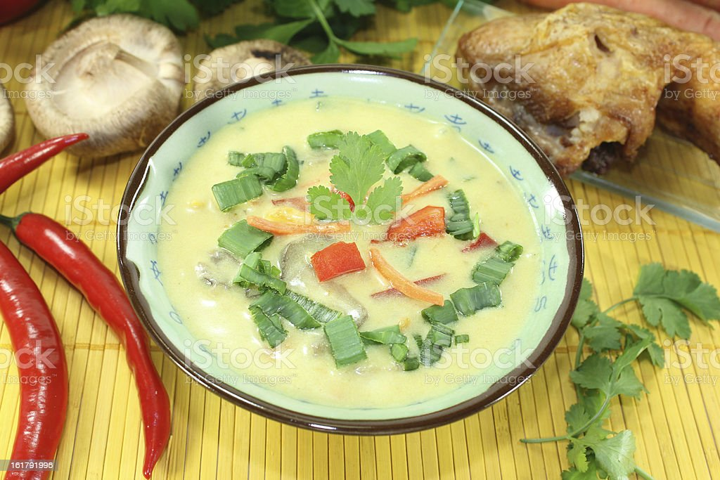 Curry soup with chicken stock photo