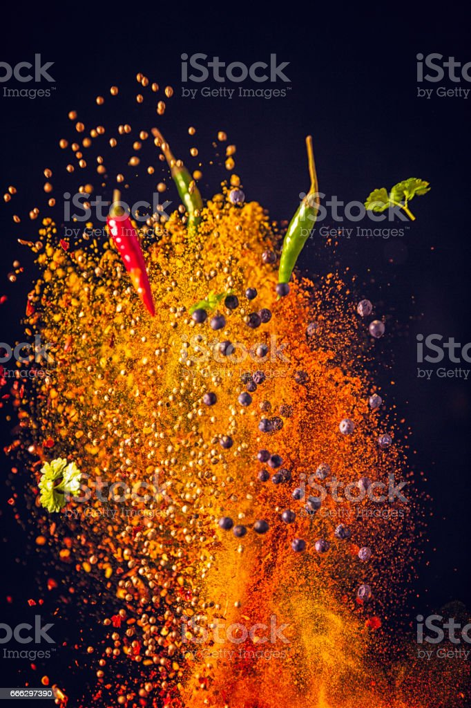 Curry Spice Mix Food Explosion stock photo