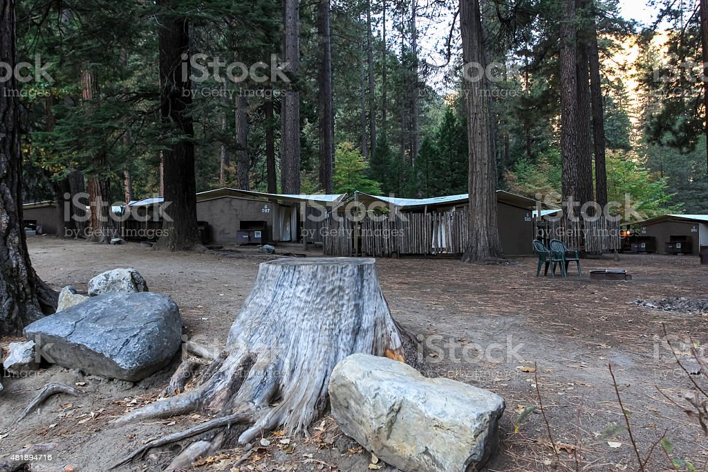 Curry village in Yosemite National Park stock photo