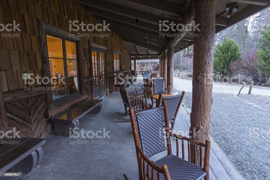 Curry village office building in Yosemite National Park stock photo