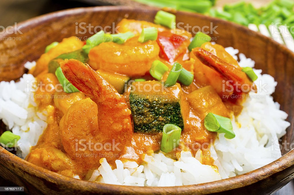 Curry with prawns, vegetables and chives royalty-free stock photo