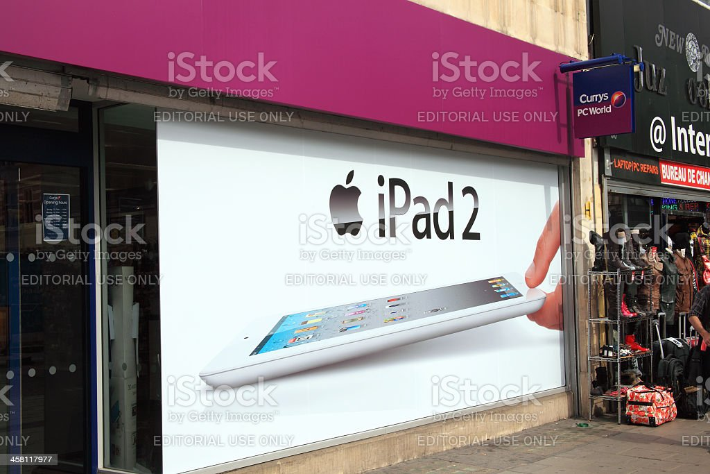 Currys PC World Advertising The iPad 2 royalty-free stock photo