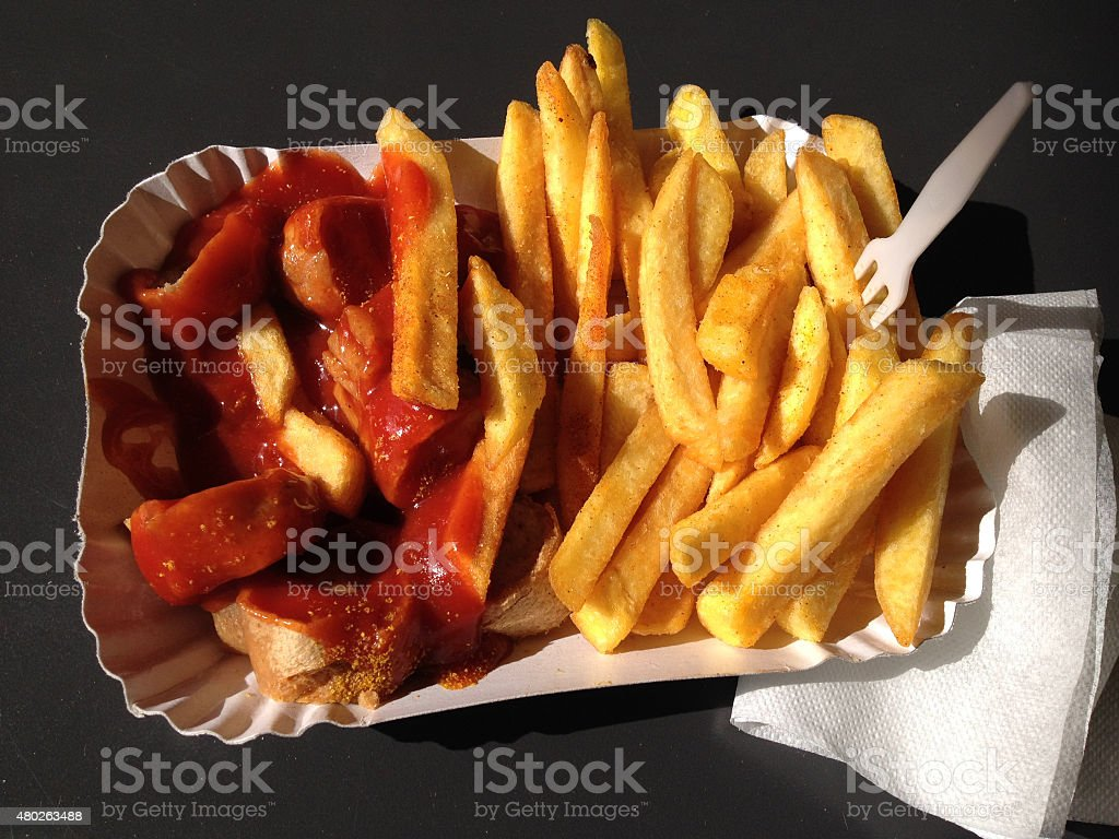 currywurst and pommes stock photo