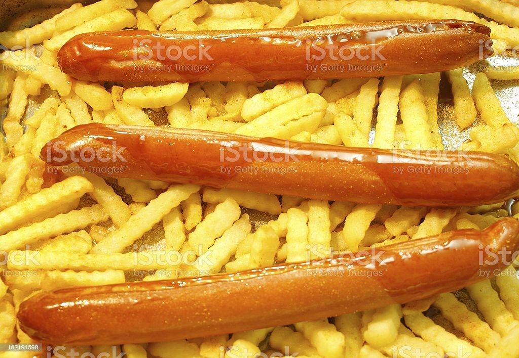 Currywurst pommes stock photo