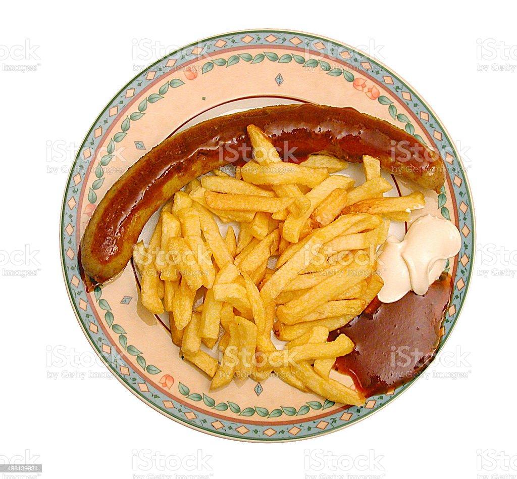Currywurst mit Pommes mit Mayo und Ketchup stock photo