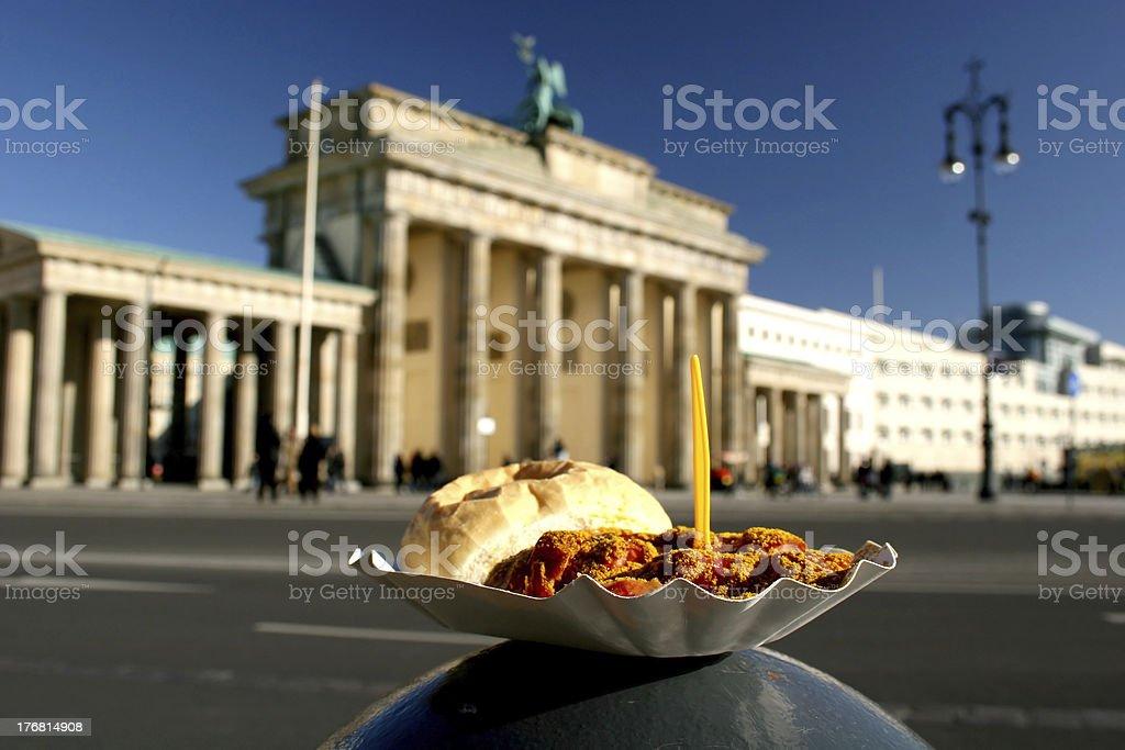 Currywurst und Brandenburger Tor stock photo
