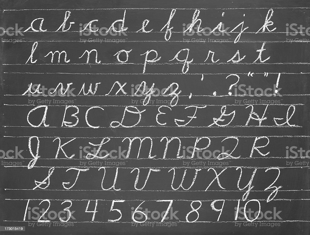 cursive alphabet stock photo