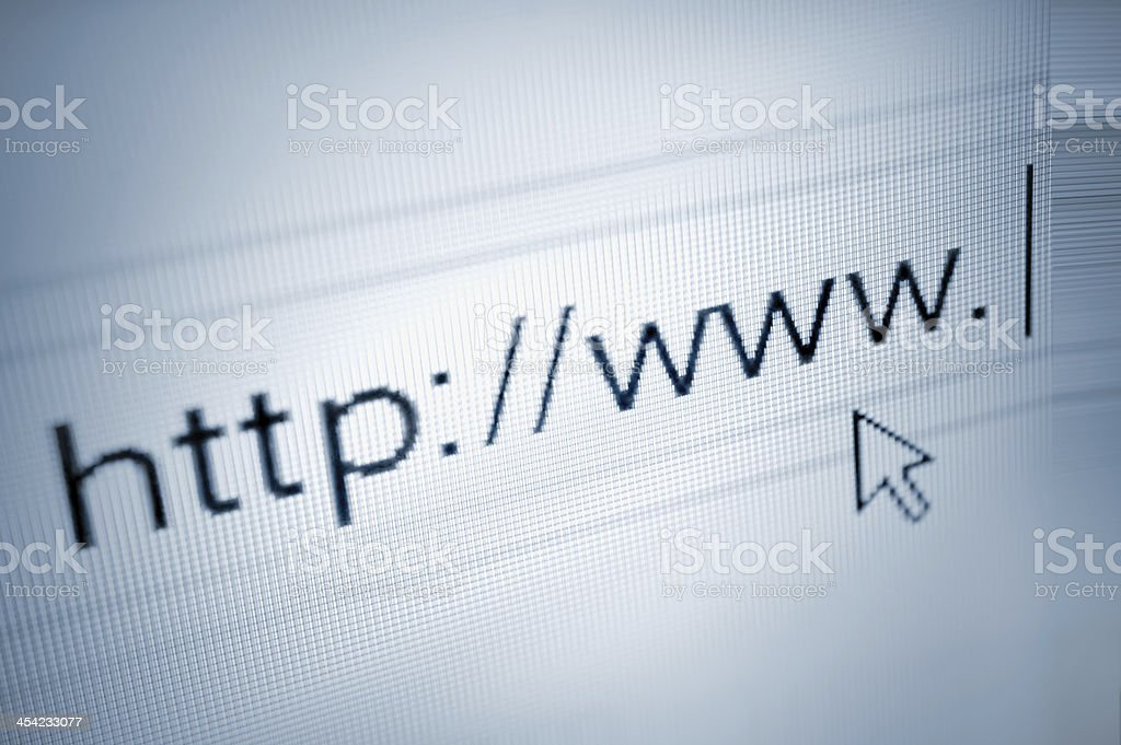 cursor arrow pointing at http www text, browser address bar stock photo