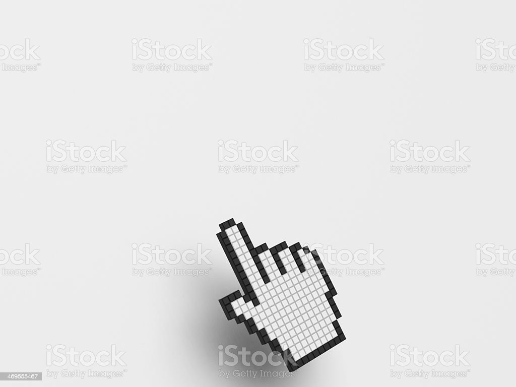Cursor Hand On White Background Shows Blank Copyspace Website stock photo