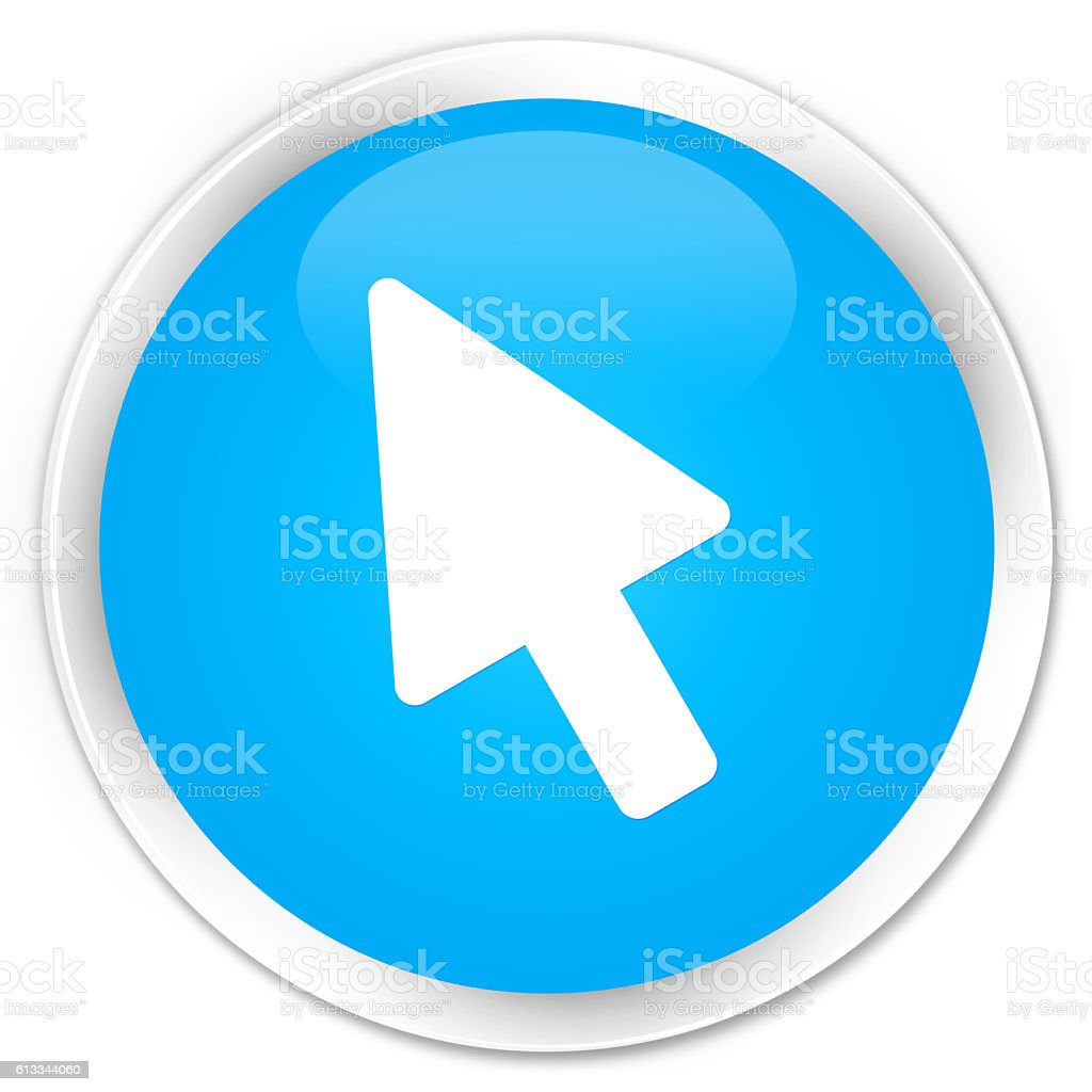 Cursor icon cyan blue glossy round button stock photo