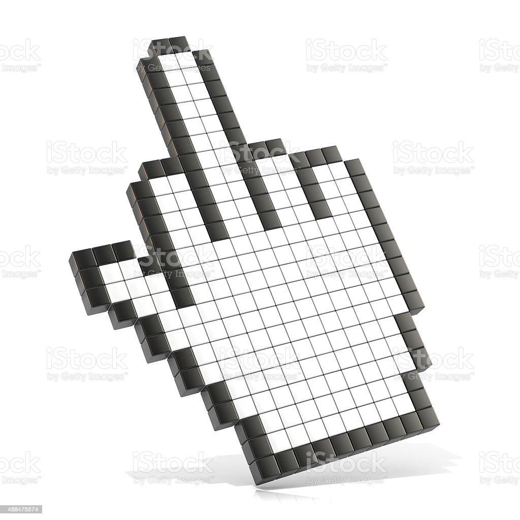 Cursor middle finger. 3D render stock photo