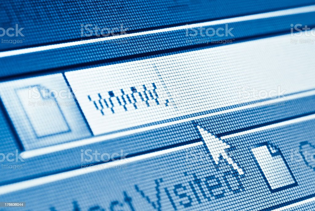 Cursor pointing to link bar that says www  royalty-free stock photo