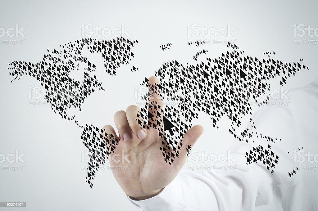 Cursor world map stock photo