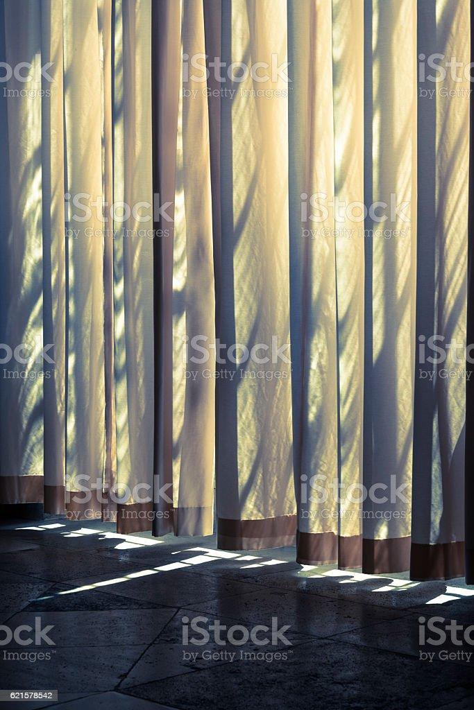 Curtain and shadows stock photo