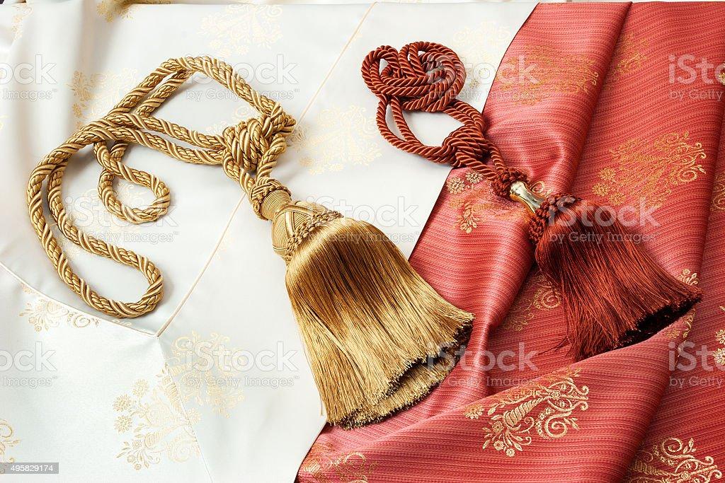 Curtain cords stock photo