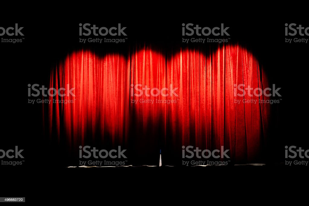 Curtain movie theater closed stock photo