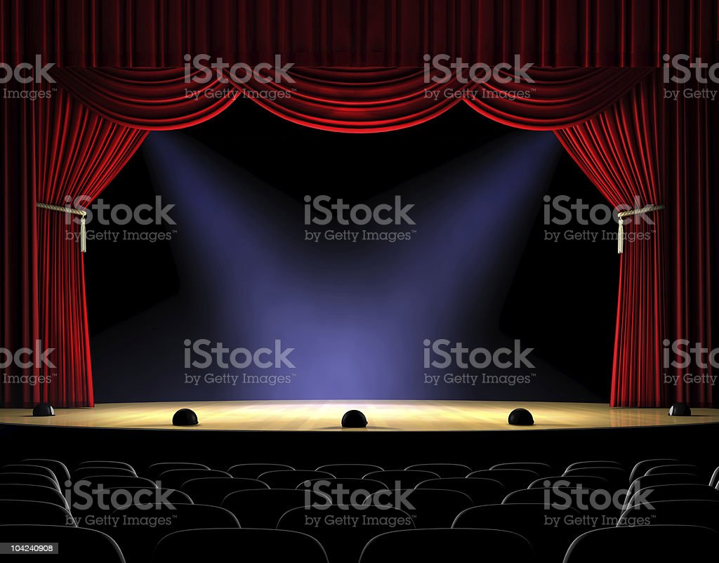 Curtain Up vector art illustration