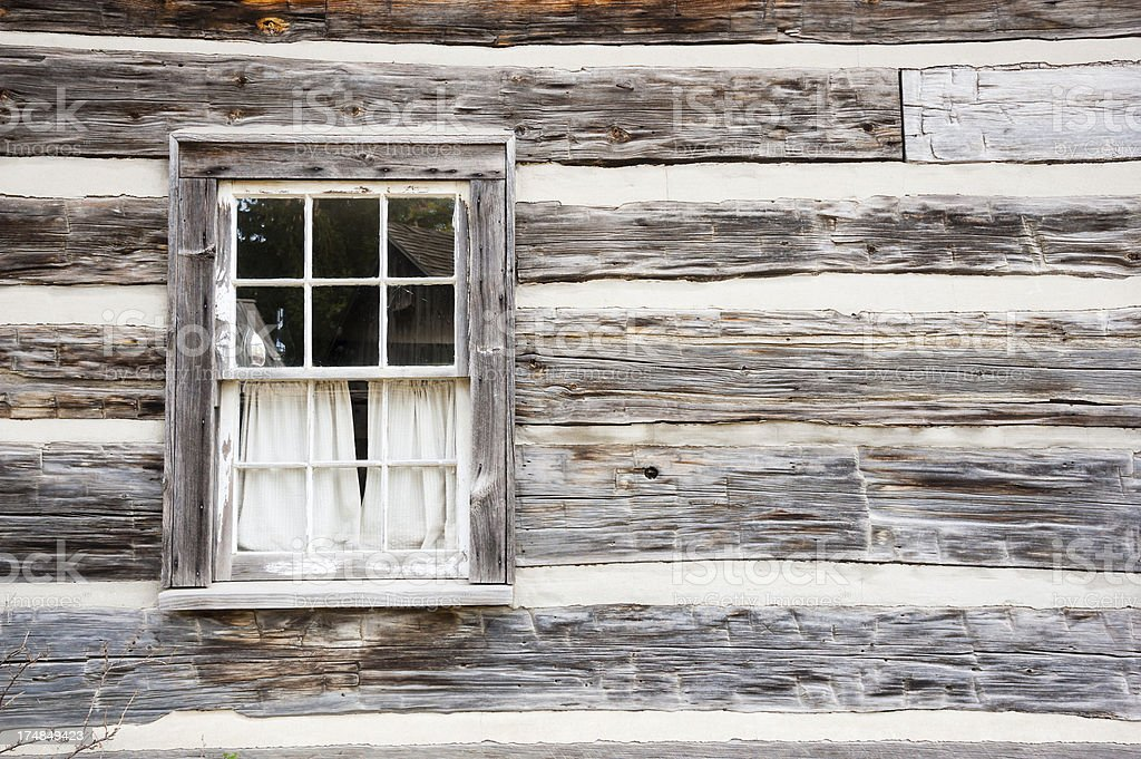 Curtains in the Old Window royalty-free stock photo