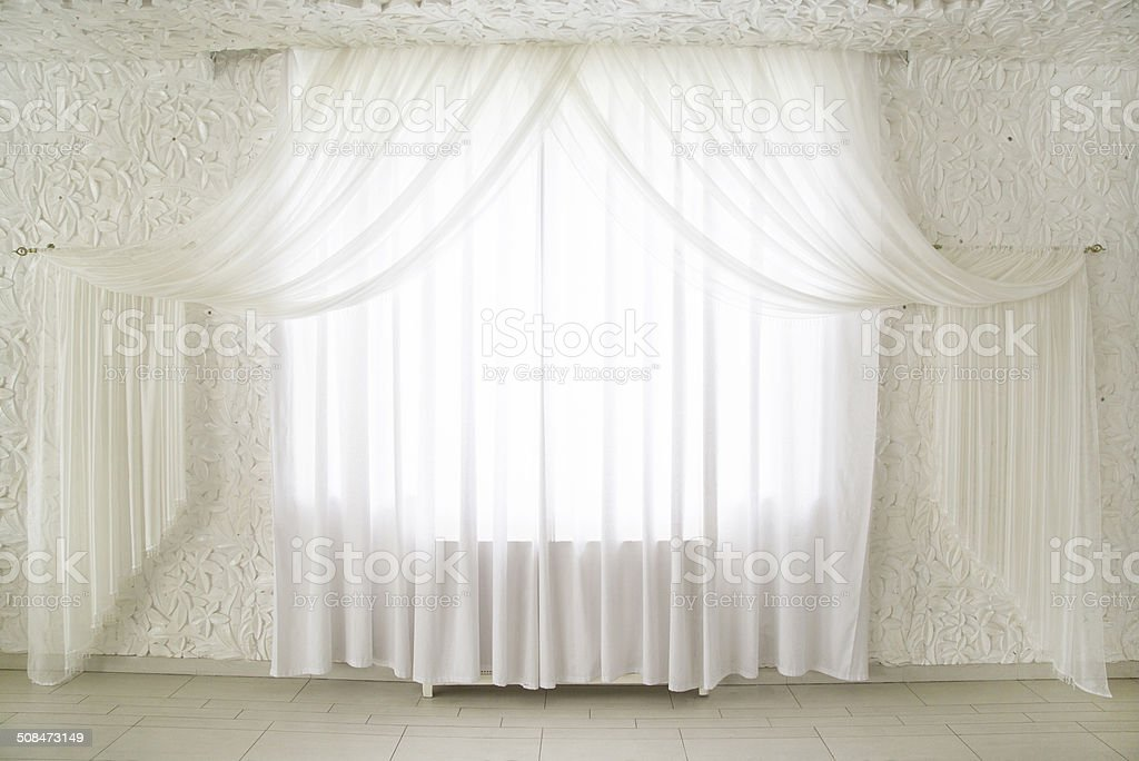 curtains on windows stock photo