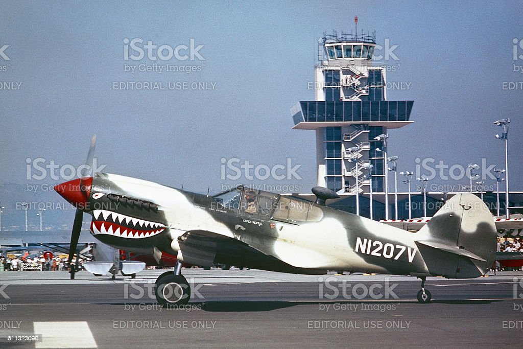 Curtiss P-40 taxiing at Oakland International Airport 1962 stock photo