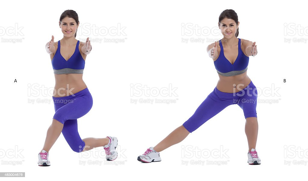Curtsy Squat/Lateral Lift stock photo