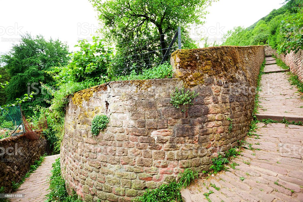 Curve and wall of pathway Philosophenweg stock photo