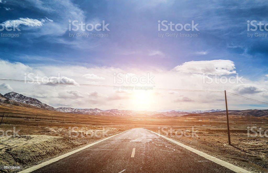 curve highway road in tibet stock photo